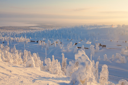 Beautiful vibrant sunny scandinavian winter aerial landscape wit